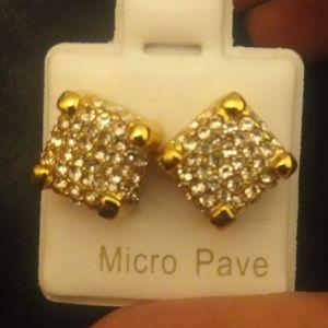 Mens cubed gold tone earrings